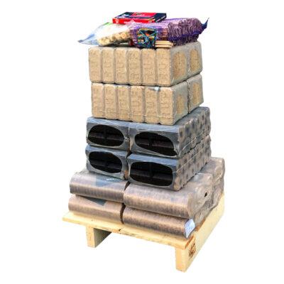 WOODcom Palette d'essai - Briquettes de bois mixtes (125Kg)