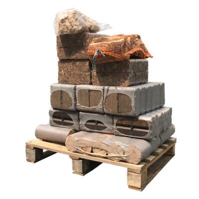 Palette d'essai - Briquettes de bois mixtes (+/-121Kg)