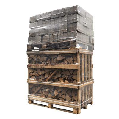 Combi de briquettes Ruf chêne (480Kg) + bois de chauffage hêtre (1,1m3)