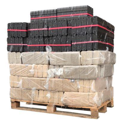 HOTdevil Pallet combibriketten gemengd - RUF eik+Bruinkool (930Kg) WOODcom